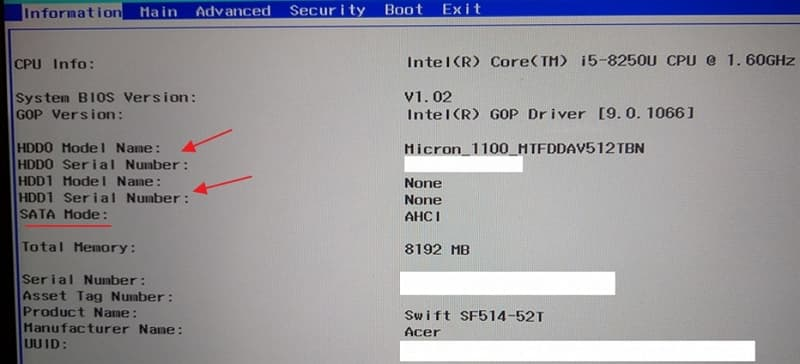 01 ACER Swift 5 SF514-52T BIOS Information