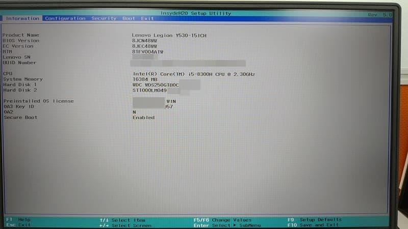 23 BIOS 選單 information page Lenovo Y530
