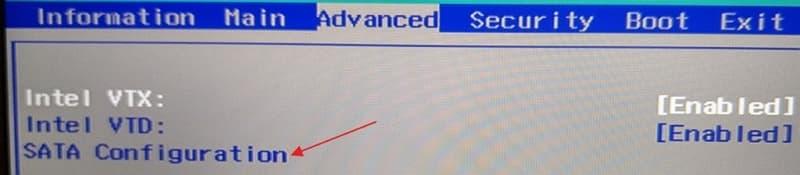 03 ACER Swift 5 SF514-52T BIOS Advanced SATA Configuration