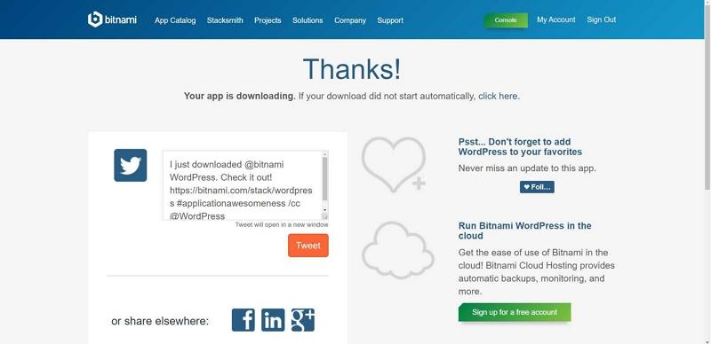 04 Bitnami WordPress for Windows 10 64 bit downloaded