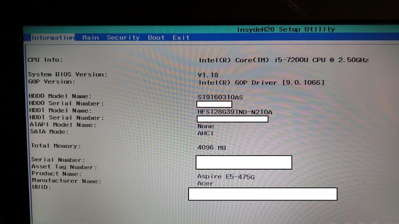08 Acer E5 475G 重灌 Windows 10 BIOS information page