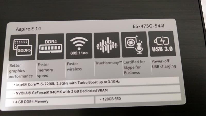 13 Acer E5 475G 重灌 Windows 10 筆電規格