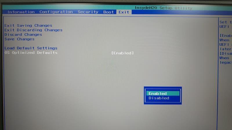 30 BIOS 選單 Exit page Lenovo Y530
