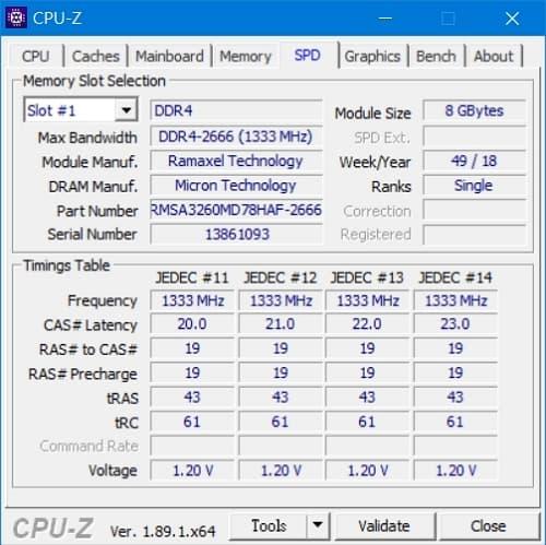 47 Lenovo Y530  CPU-Z DDR4-2666 8GB模組 2
