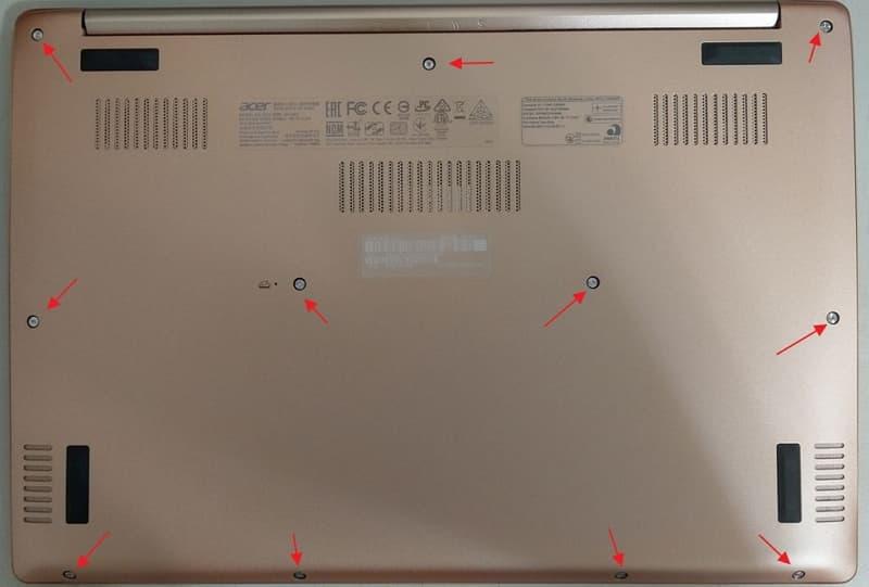 02 ACER Swift 5 SF514-52T 拆機 更換 SSD 螺絲位置