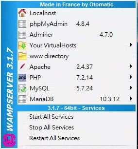install WAMPServer 3.1.7_4 開啟程式目錄