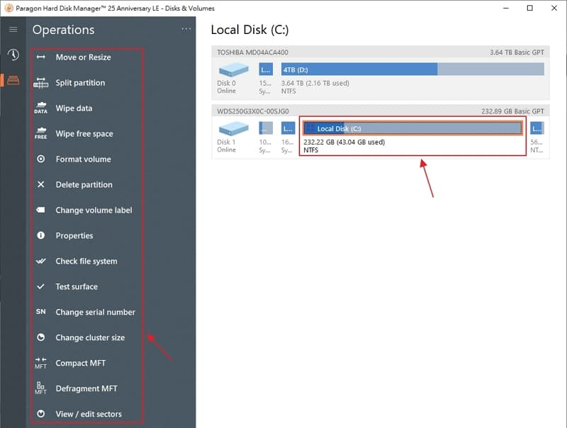 U0716 11 Paragon Hard Disk Manager GUI- Partition operation