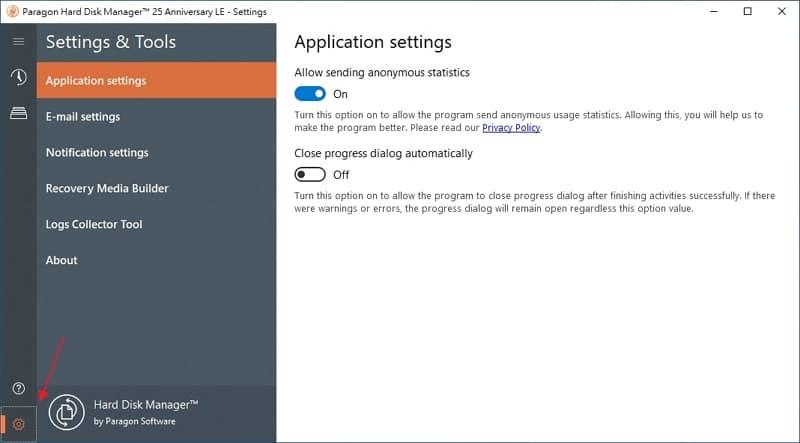 U0716 12 Paragon Hard Disk Manager GUI- setup menu