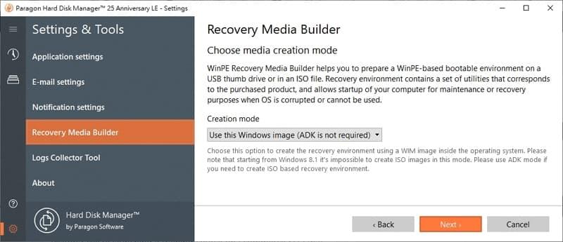 U0716 14 windows 備份 軟體 Paragon Hard Disk Manager create recovery media windows adk
