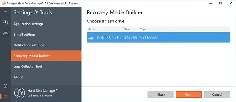 U0716-15-windows-備份-軟體-Paragon-Hard-Disk-Manager-create-recovery-media-select-usb-drive